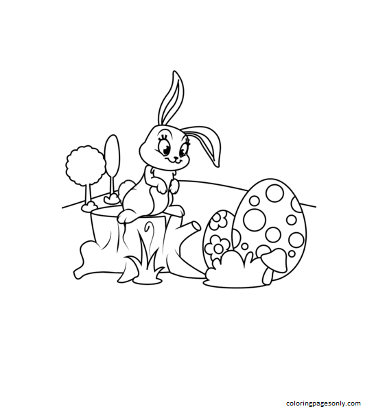 Cute Easter Bunny on Hemp Coloring Page