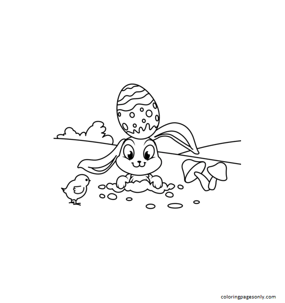 Cute Easter Chick and Rabbit Coloring Page