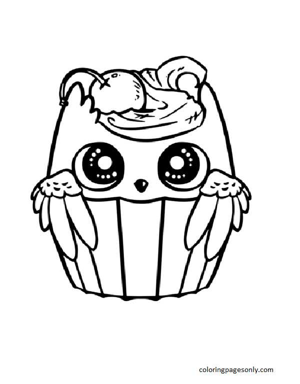 Cute Owl Cupcake Coloring Page