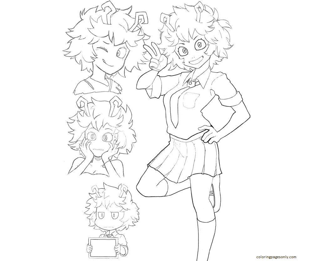 Cute Uraraka Coloring Page