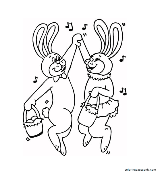 Dance of Easter Bunnies Coloring Page