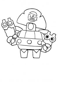 Brawl Stars Darryl has a powerful double-shotgun attack Coloring Page