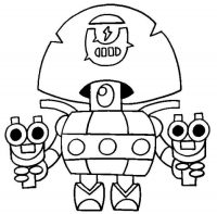 Darryl from Brawl Stars holds a shortgun on each side of hand Coloring Page