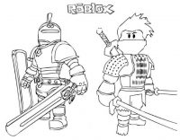 Knight and Samurai from Roblox ready to fight in the battle Coloring Page