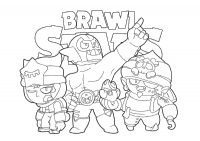 Sandy, Gene and El Primo from Brawl Stars Coloring Page