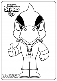 Crow from Brawl Stars fires a trio of poisoned daggers Coloring Page