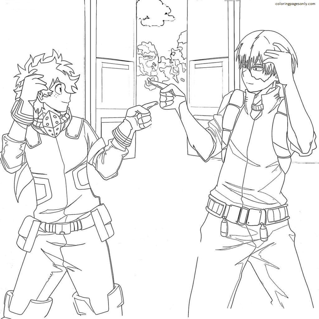 Deku and Shoto Todoroki Coloring Page