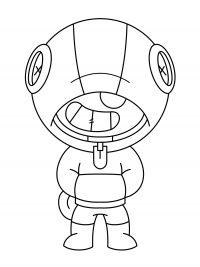 Naughty Leon from Brawl Stars wears hoodie Coloring Page