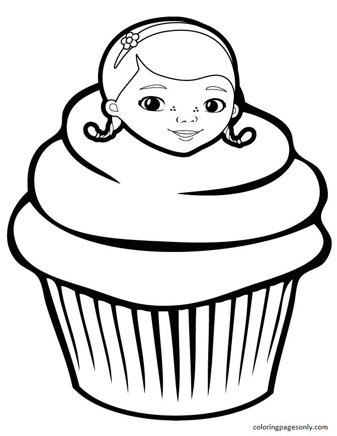 Doc McStuffins Cupcake Coloring Page