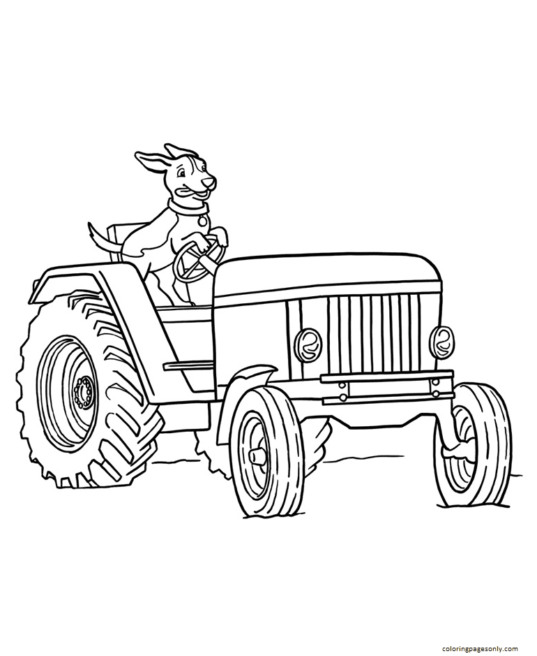 Dog Driving The Tractor Coloring Page