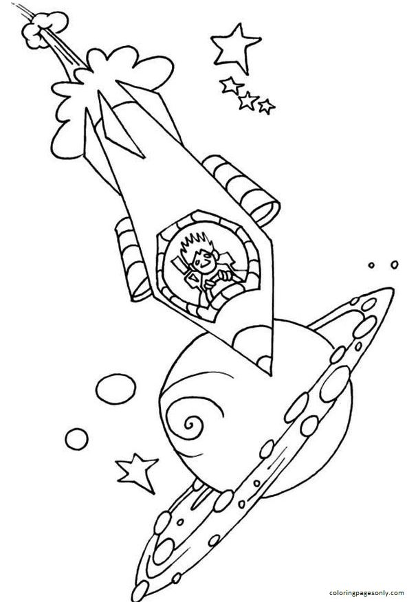 Driving A Rocket Ship Coloring Page