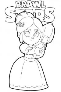 Piper has a bear-shape hairclip from Brawl Stars Coloring Page