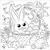 Easter bunny and egg in the basket in the nice day Coloring Page