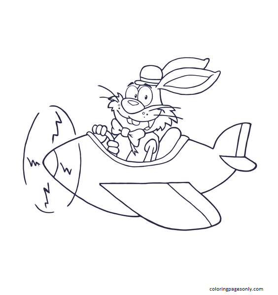 Easter Rabbit Flying with Plane Coloring Page