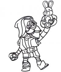 Ricochet from Brawl Stars raises his teddy bunny Coloring Page