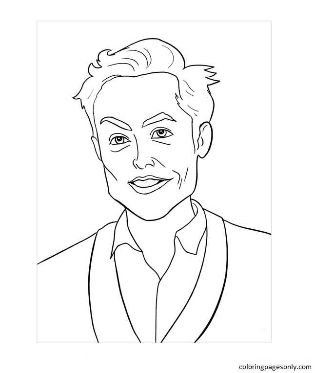 Elon Musk 2 Coloring Page