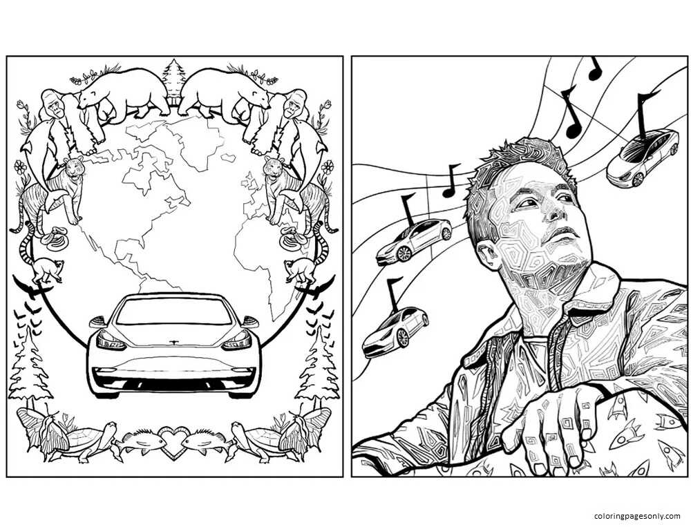 Elon Musk 3 Coloring Page