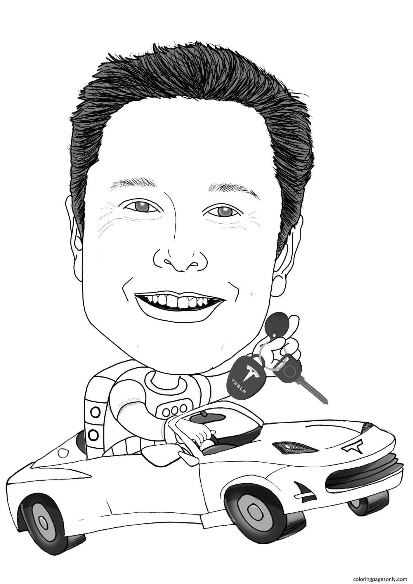 Elon Musk 5 Coloring Page