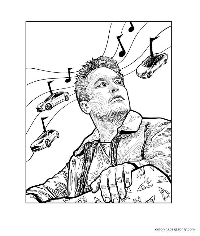 Elon Musk Free Printable 2 Coloring Page