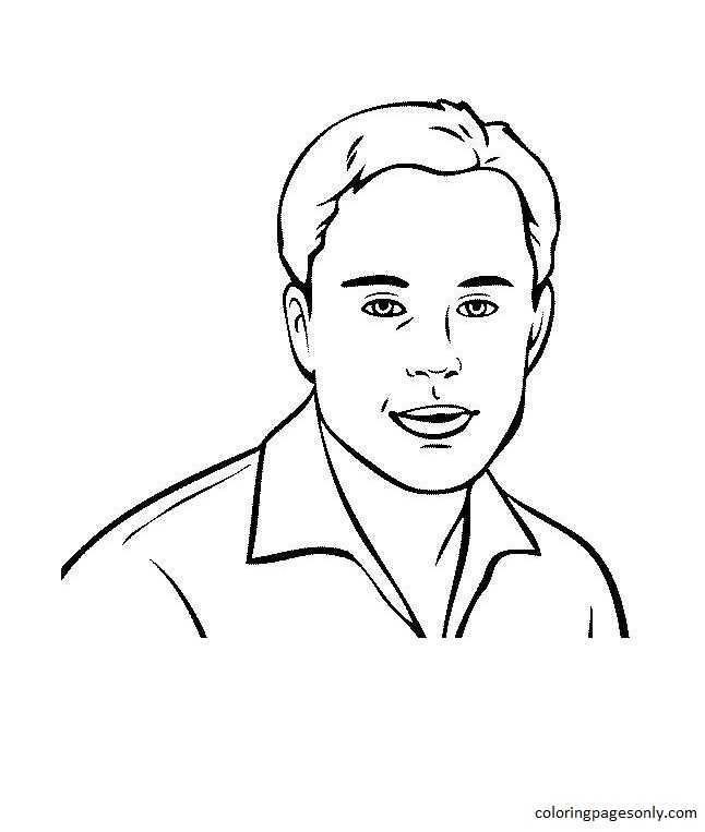 Elon Musk Free Printable Coloring Page
