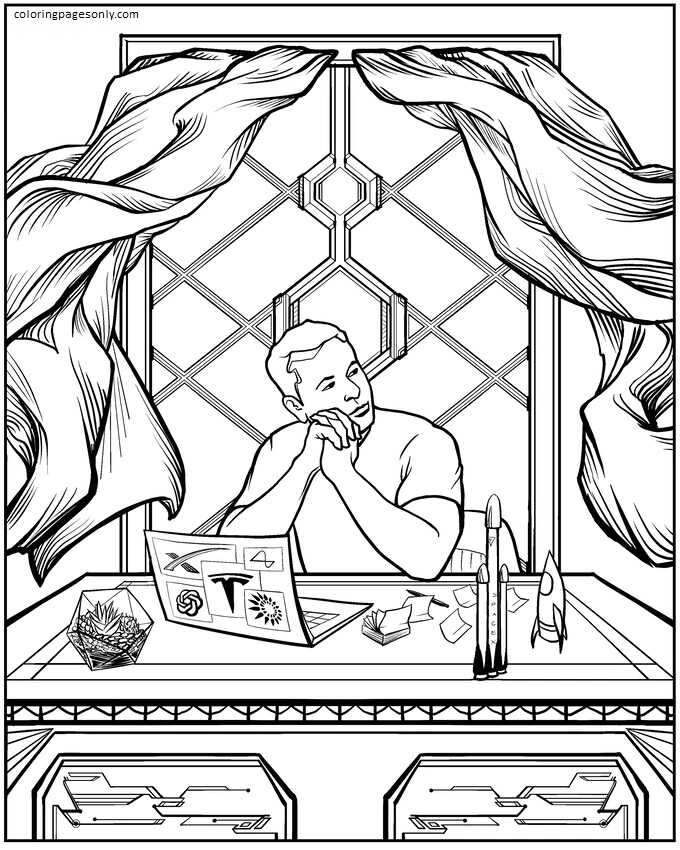Elon Musk Coloring Page