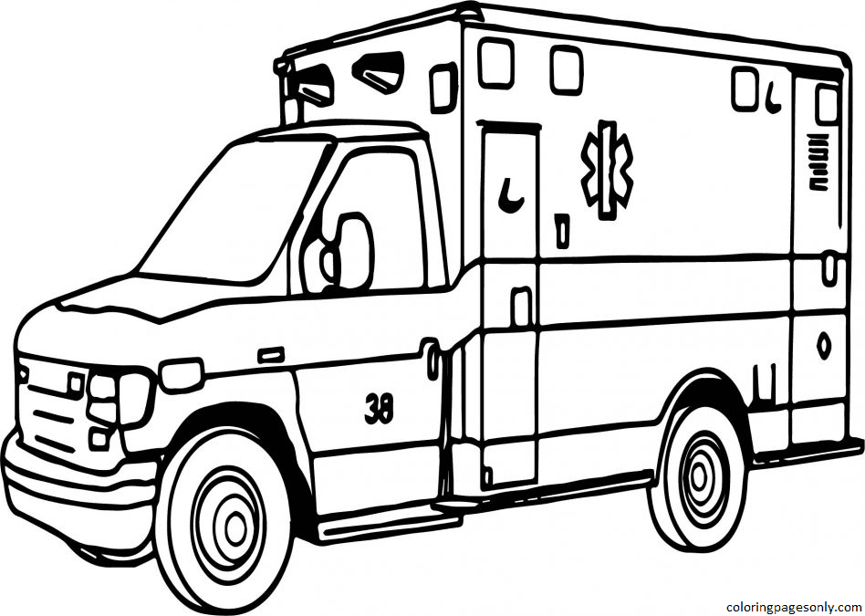 Emergency Vehicles 1 Coloring Page