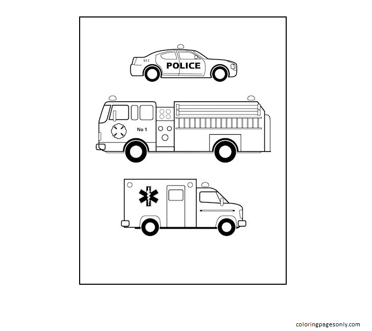 Emergency Vehicles Coloring Page