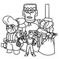 Brawl Stars Epic Brawlers team includes Frank, Piper, Pam and Bibi Coloring Page