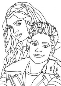 Evie and Carlos play together from Descendants Coloring Page