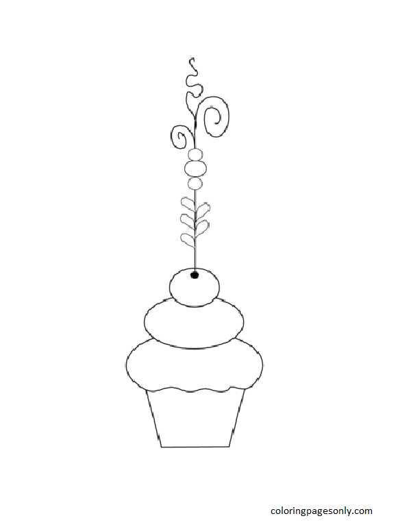 Fancy Cupcake Coloring Page