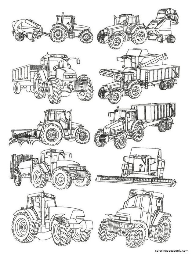 Farm Machines Coloring Page