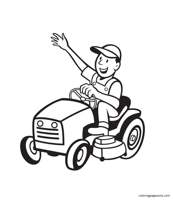 Farmer Riding a Tractor Mower Coloring Page