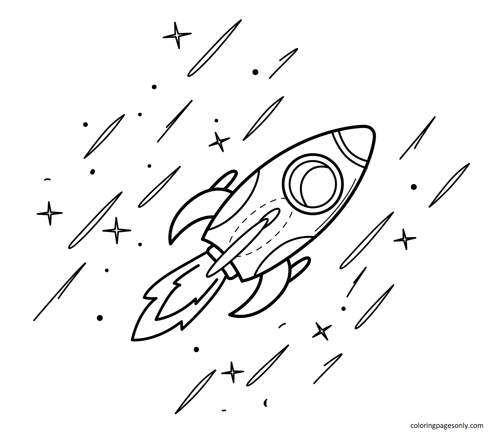 Fast Rocket Coloring Page