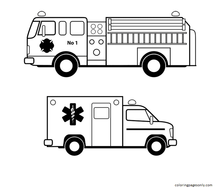 Fire Engines And Ambulances Coloring Page