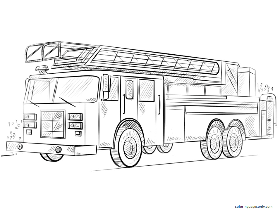 Fire Engines Coloring Page