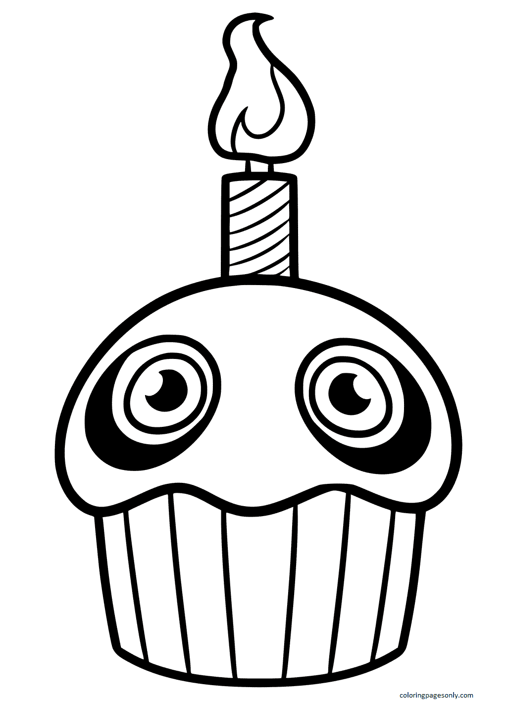 Five Nights at Freddy's Cupcake Coloring Page