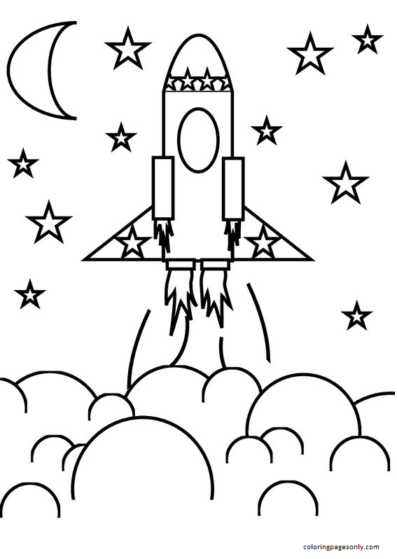 Flower Craft and Rocket Ship Coloring Page