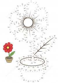 Connect the dots with sample a flower pot Coloring Page