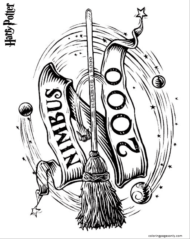 Flying Broom Coloring Page