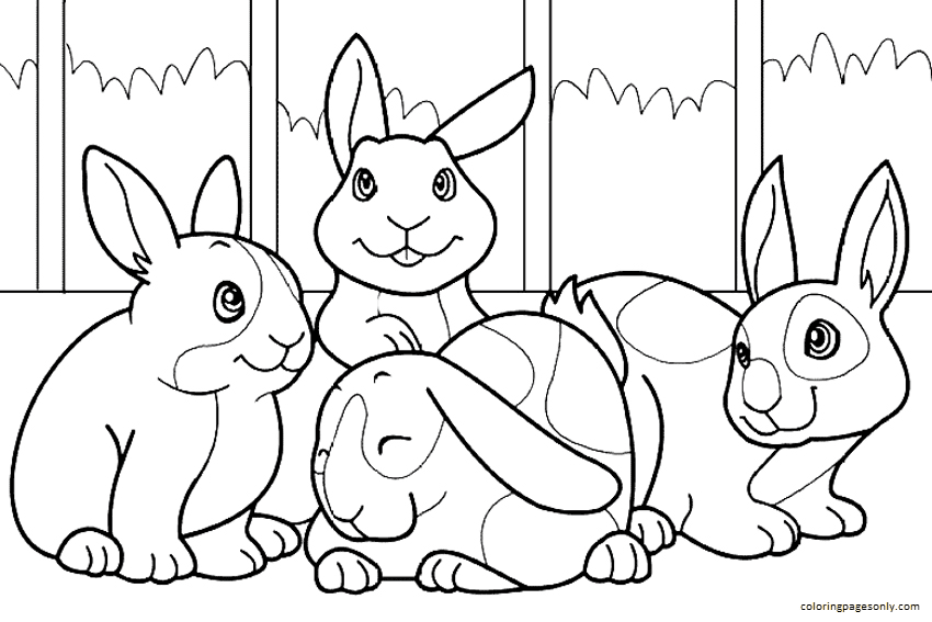Four Bunny Coloring Page