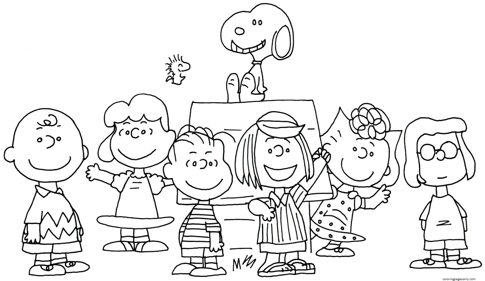 Free Charlie Brown Snoopy And Peanuts Coloring Page