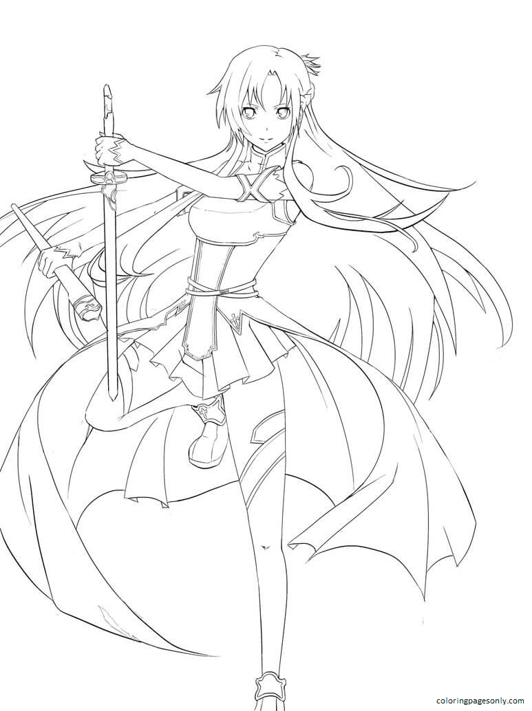 Free Printable Asuna Coloring Page