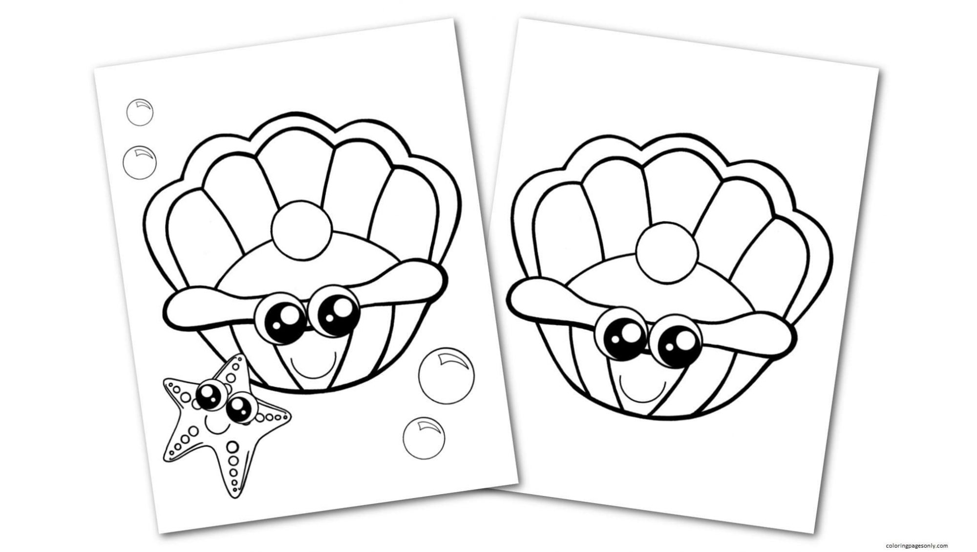 Free Printable Clam Shell Coloring Page