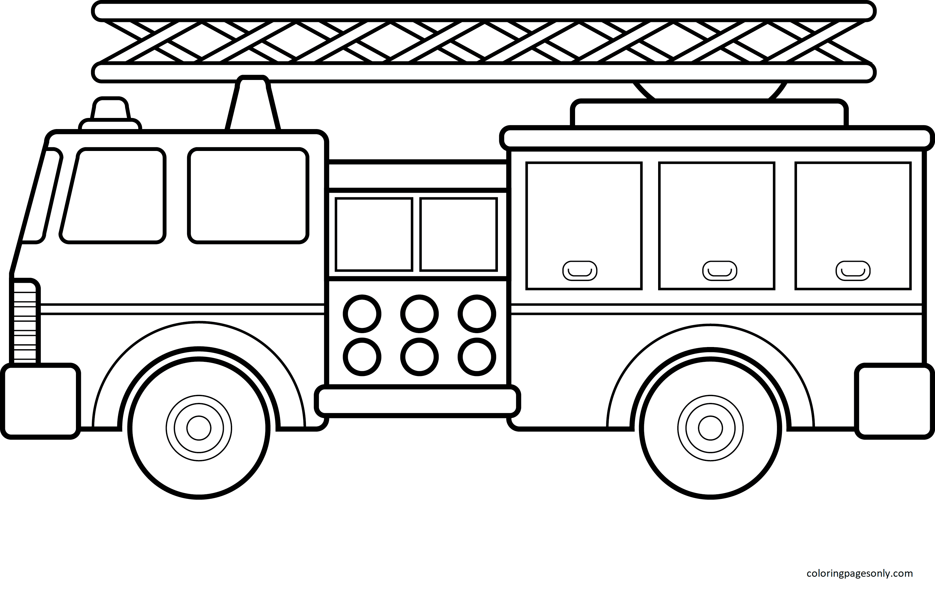 Free Printable Fire Truck Coloring Page