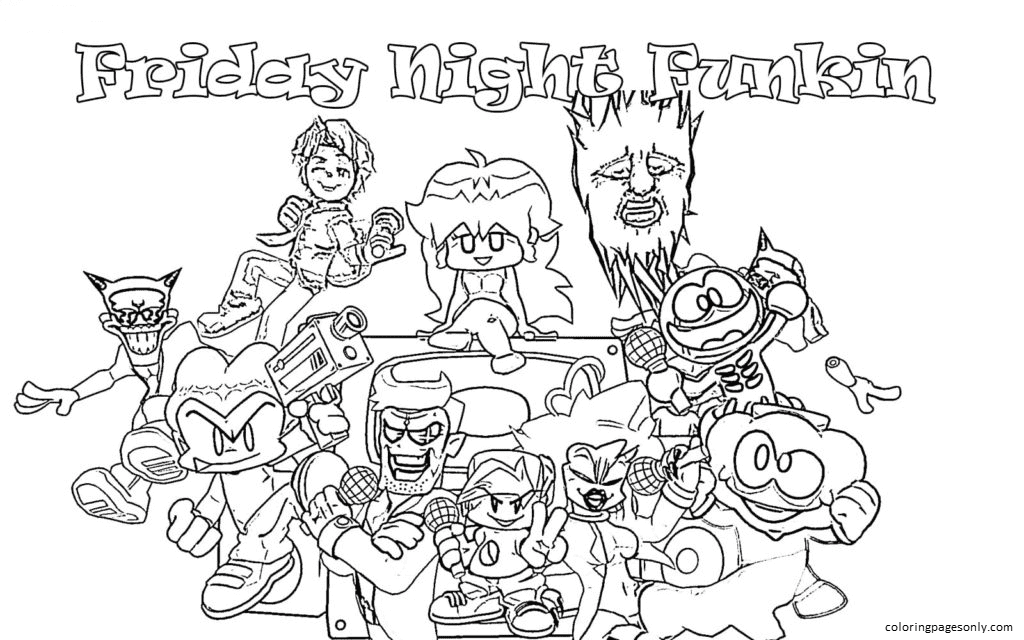 Friday Night Funkin Sheet 3 Coloring Page