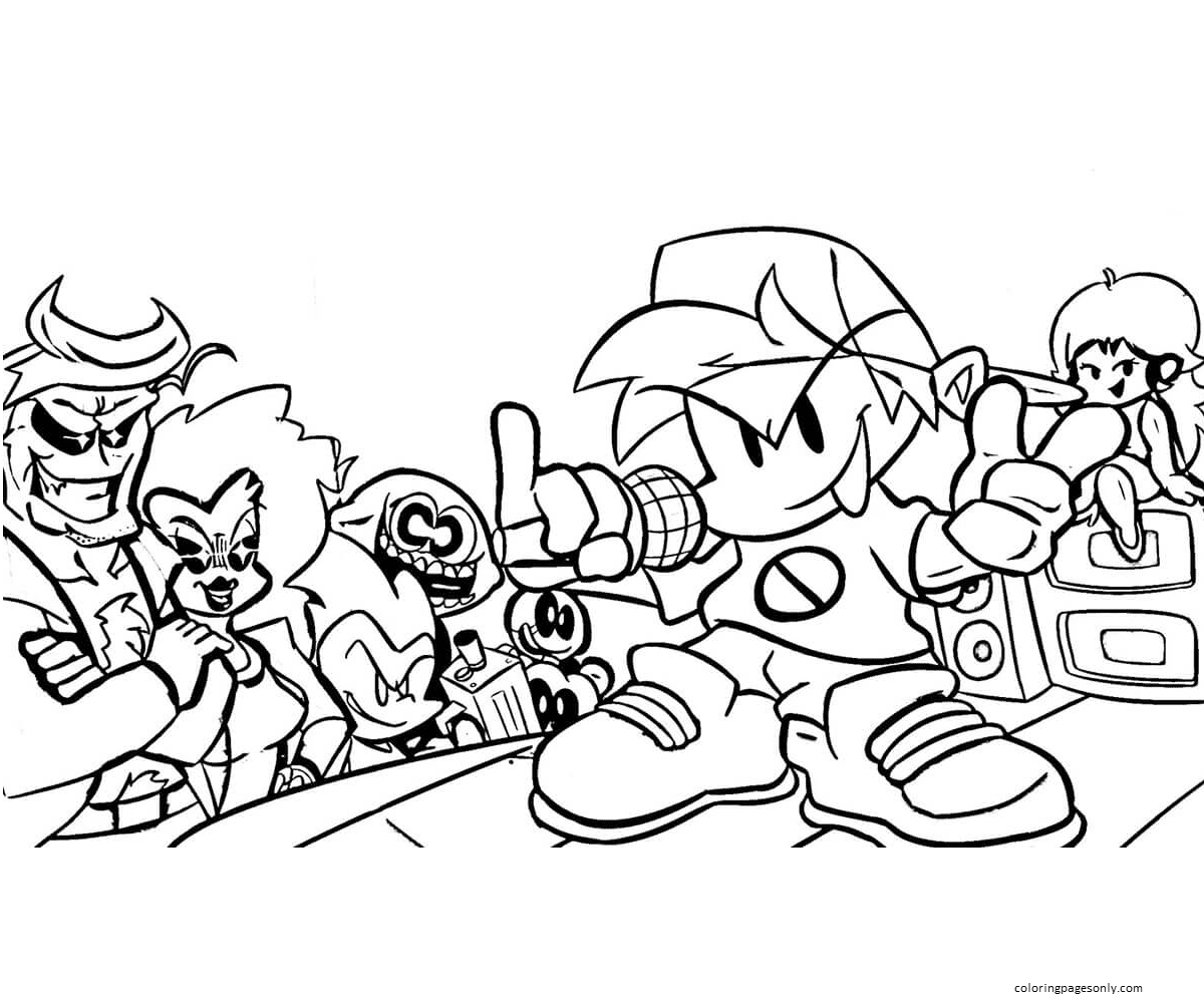 Friday Night Funkin Coloring Page