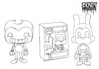 Funko POP Figures Bendy and Boris the Wolf based Bendy and the Ink Machine Coloring Page