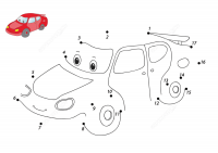 Connect the dots draw funny cartoon car with sample Coloring Page