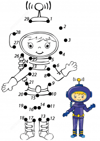 Connect the dots cute astronaut girl with sample Coloring Page