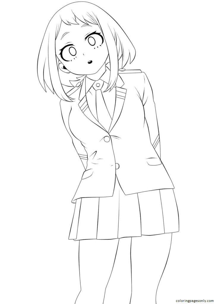 Girl in school uniform Coloring Page